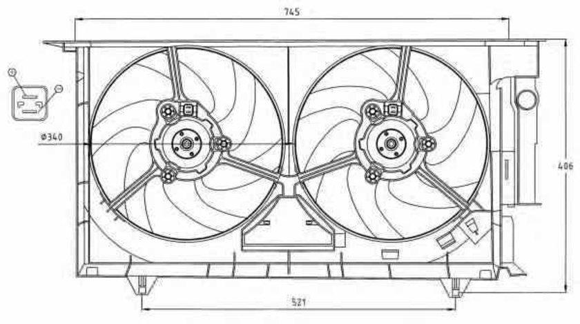 Ventilator radiator CITROËN BERLINGO MF NRF 47075