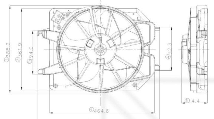 Ventilator radiator (cu carcasa) FORD FOCUS 1.4/1.6 intre 1998-2005 cod intern: CI4019CF