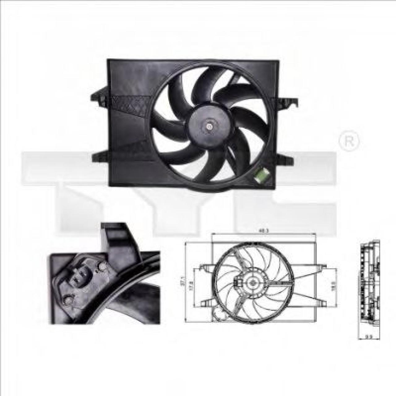 Ventilator, radiator MAZDA 2 (DY) (2003 - 2016) TYC 810-0025 piesa NOUA