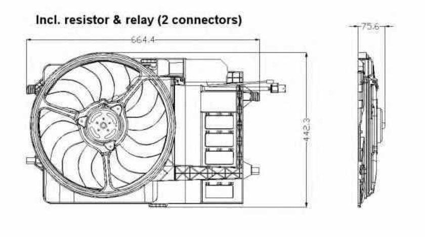 Ventilator radiator MINI MINI Cabriolet R52 NRF 47302
