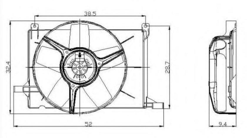 Ventilator, radiator OPEL TIGRA (95) (1994 - 2000) NRF 47009 produs NOU
