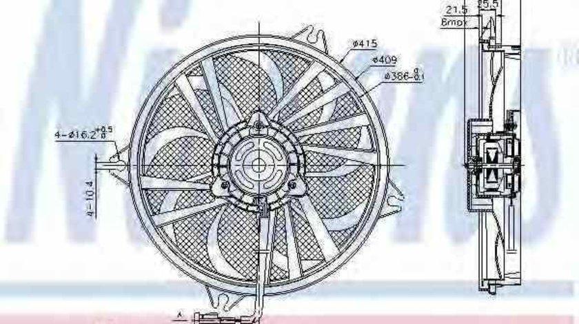 Ventilator radiator PEUGEOT 607 9D 9U NISSENS 85605