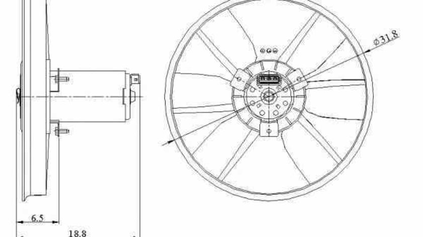 Ventilator radiator VW GOLF III Cabriolet 1E7 NRF 47401
