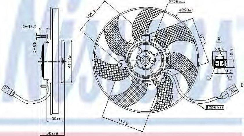 Ventilator, radiator VW GOLF V (1K1) (2003 - 2009) NISSENS 85680 produs NOU