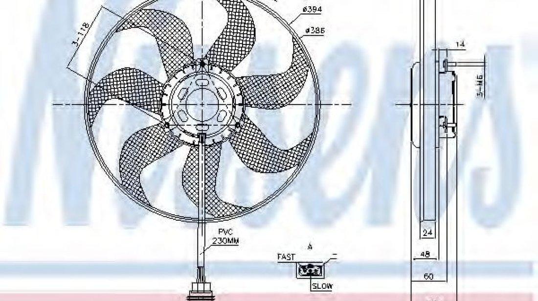 Ventilator, radiator VW POLO (6R, 6C) (2009 - 2016) NISSENS 85798 produs NOU