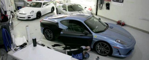 Video: Ferrari F430 Scuderia, de la bleu la negru mat!