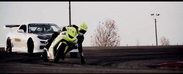 Video: Mazda RX7 versus Kawasaki ZX10 - Cauciucuri si scantei, curbe si magie