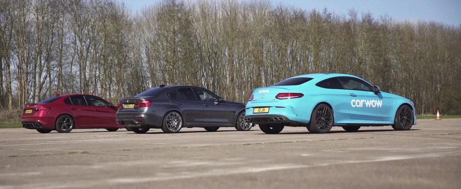 VIDEO. Noua Alfa de 510 CP provoaca la o liniuta modelele BMW M3 si Mercedes C63 S