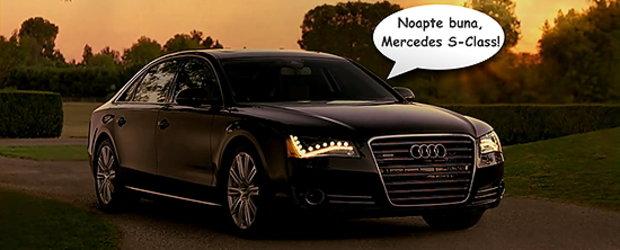 """Video: Noul Audi A8 ii spune """"Noapte Buna!"""" limuzinei Mercedes S-Class!"""