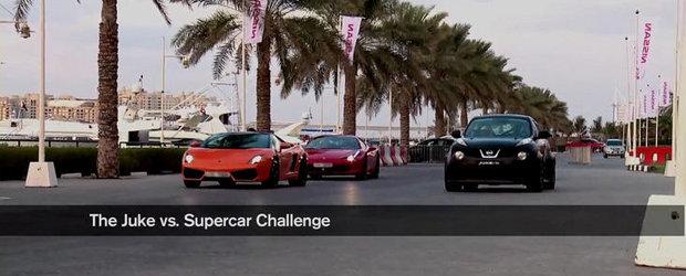 VIDEO: Noul Nissan Juke-R se ia la intrecere cu 458 Italia, Gallardo Bicolore si SLS AMG