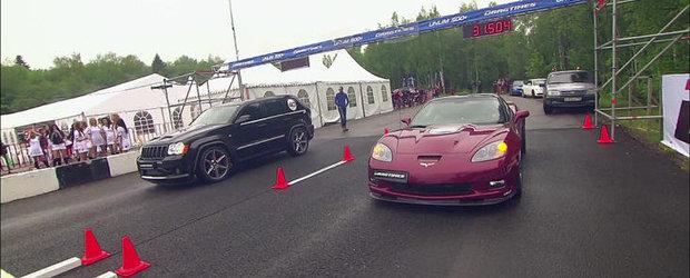 VIDEO: Sesiune de drag race cu un Corvette ZR1, un Jeep de 1.200 CP si doua AMG-uri