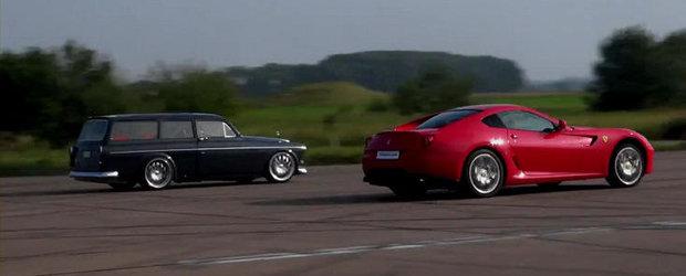 VIDEO: Un Ferrari 599 GTB se ia la intrecere cu... Volvo-ul bunicului