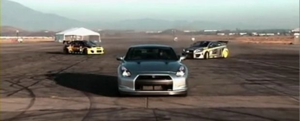 Video: Un Nissan GT-R contra doua Scion TC din Formula Drift!