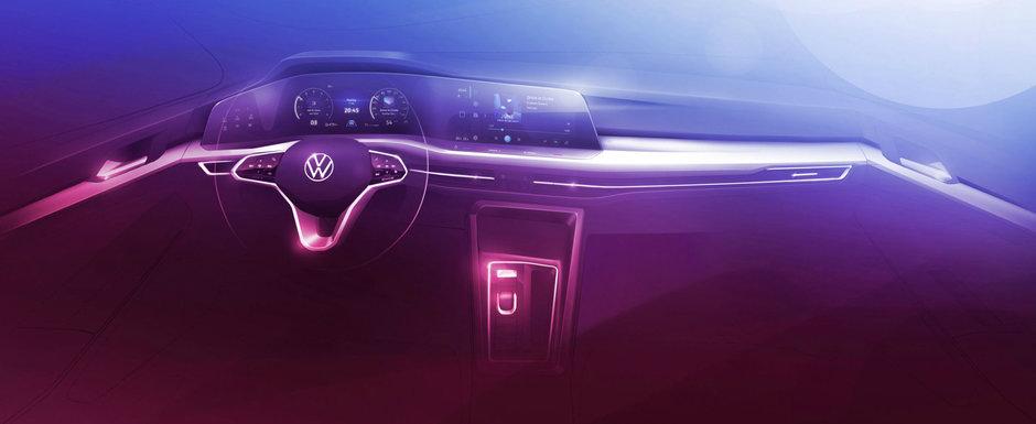 Volkswagen a publicat patru fotografii noi ale viitorului Golf 8. Doua dintre acestea sunt de la interior