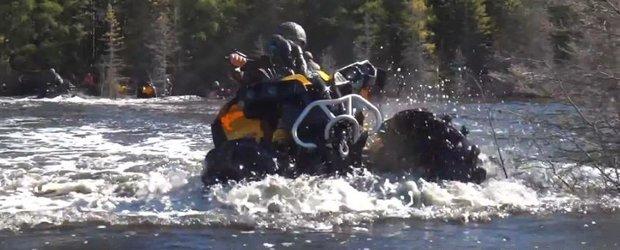Wheelie pe 2 roti cu un ATV... pe sub apa!
