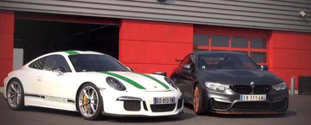 Ziua iti devine imediat mai buna cand vezi un Porsche 911 R, un BMW M4 GTS si un invitat surpriza pe circuit. Nu?